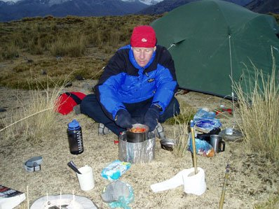 image of cooking on a camping stove in Peru