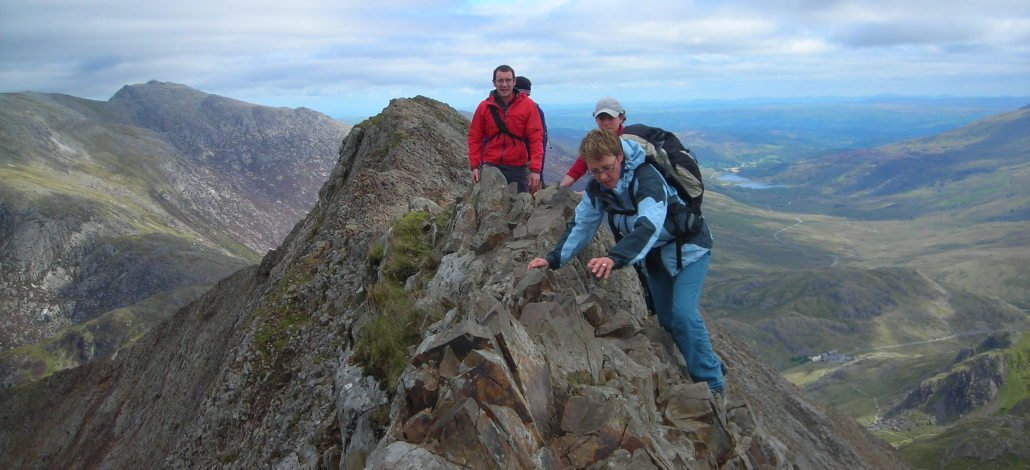 image of guided scrambling on Crib Goch Snowdonia