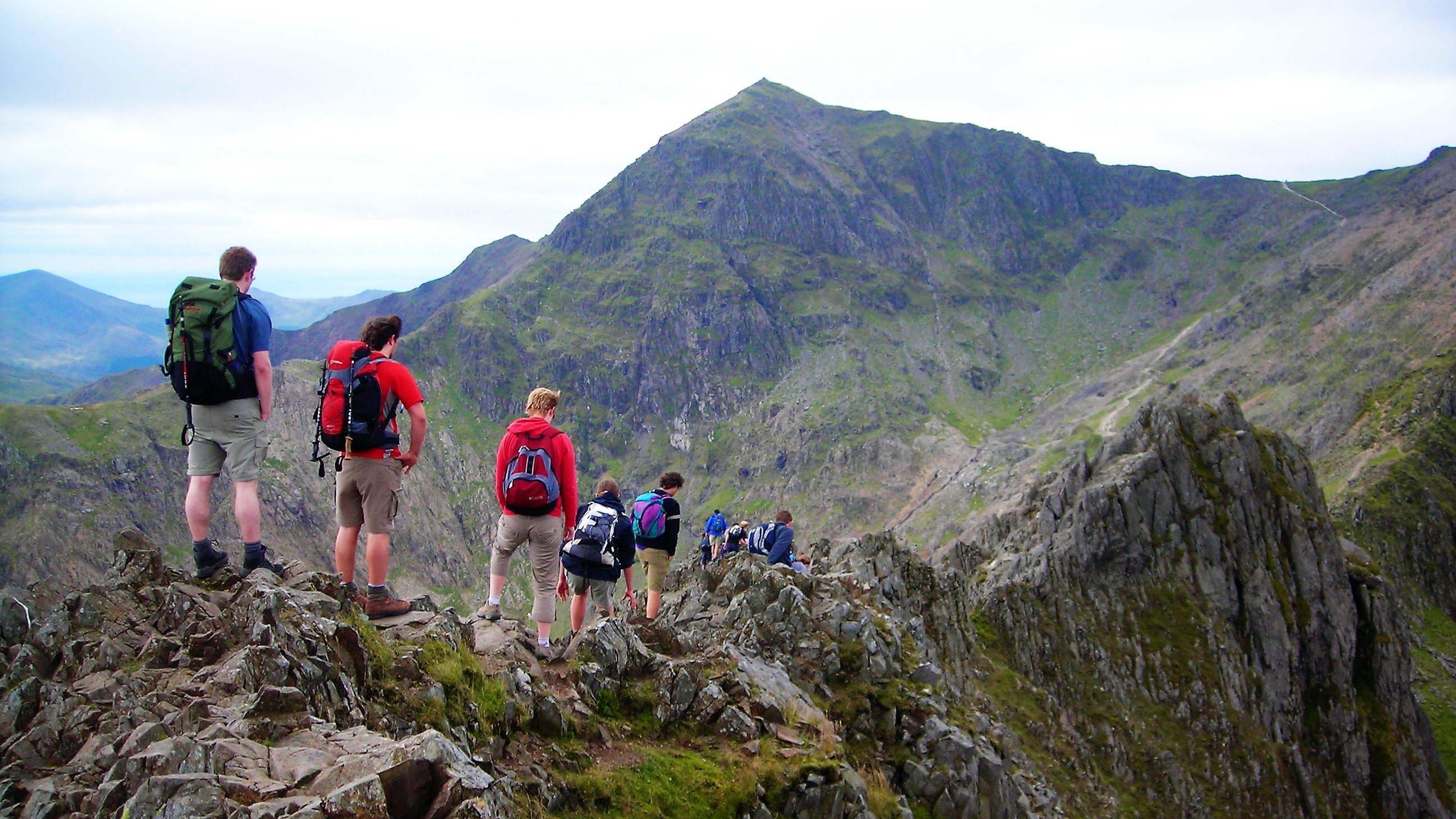 Scrambling on Crib Goch Snowdonia