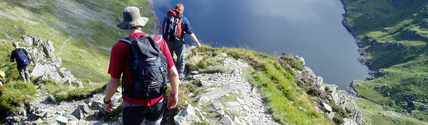 Image showing two walkers descending down a hill side in Snowdonia