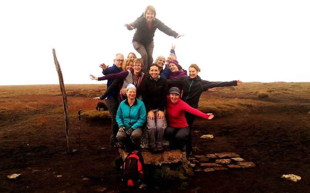 image of aguided walking group on Brown Knoll in the Peak District