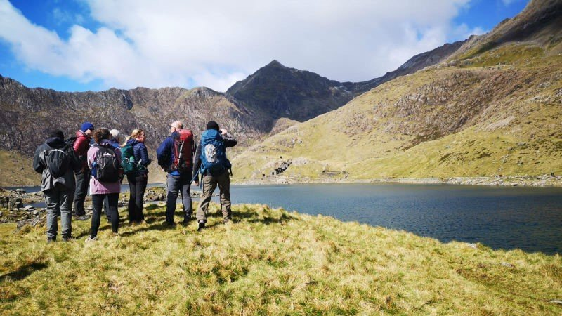 Image showing walkers looking up to Snowdon in Snowdonia